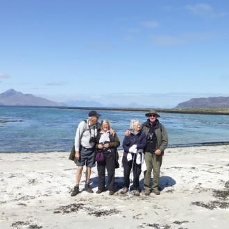 group enjoying the sunshine on the Isle of Muck