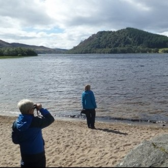 Watching a fishing osprey by a bracing Loch Ruthven