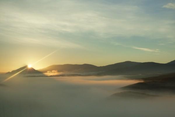 Sunrise and cloud inversion over Loch Quoich, Glen Garry
